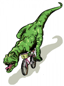 Tyranosaurus Rex on a bicycle