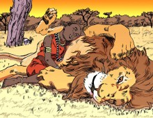 Masai girl and lion